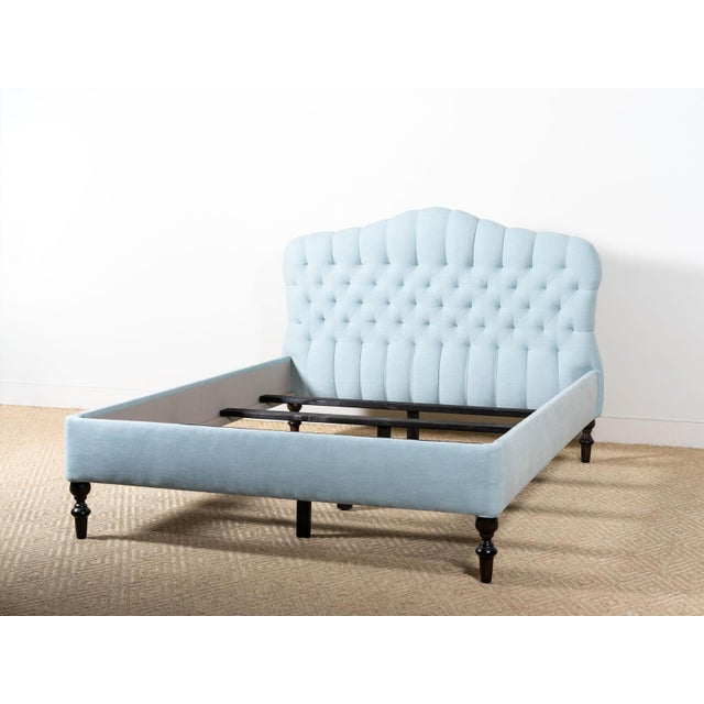 Savasana Upholstered Blue Cotton Queen Bedframe For Sale - Image 6 of 6