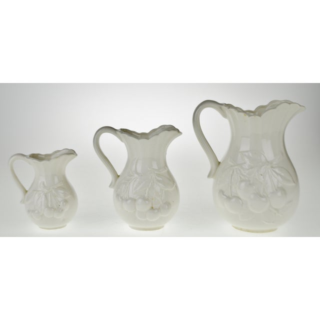 Early White Porcelain Pitchers with Relief Cherry Drop Design - Set of 3 For Sale In Philadelphia - Image 6 of 11