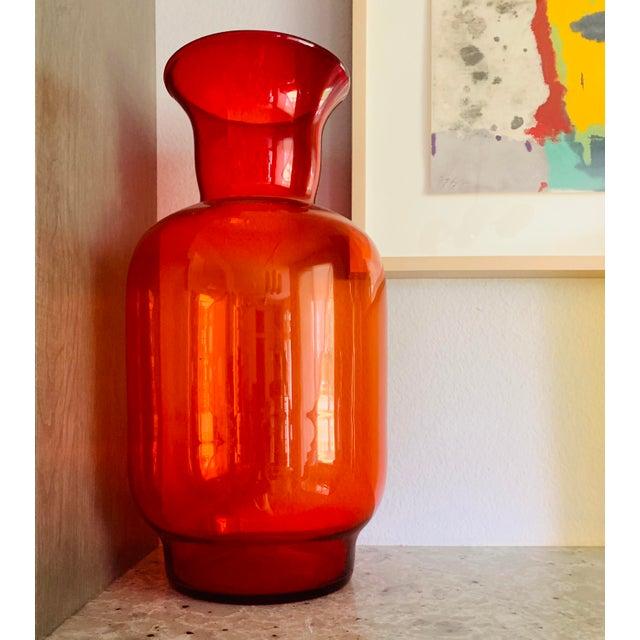 Blenko Tangerine Orange Floor Vase Scarce Oversized - # 7048 For Sale - Image 11 of 13