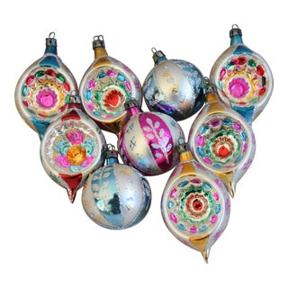 Vintage Fancy Glitter Christmas Ornaments W/Box - Set of 9 For Sale