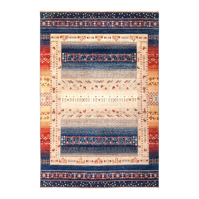 "Tribal Hand Knotted Area Rug - 6' 6"" X 9' 9"" - Image 1 of 4"