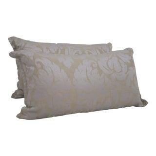Silk Damask Lumbar Pillows - a Pair