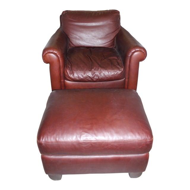 Natuzzi Leather Club Chair & Ottoman - Image 1 of 5