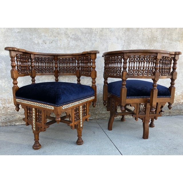 Islamic 1950s Vintage Moroccan Mother of Pearl Velvet Corner Chairs - A Pair For Sale - Image 3 of 12