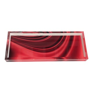 Lucite Red Drapery Tray For Sale