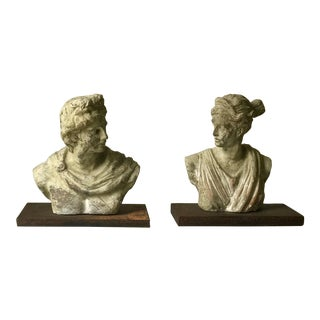 Vintage Terracotta Busts on Iron & Acrylic Bases - A Pair