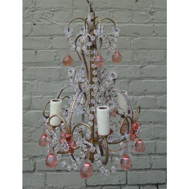 Petite Pink Drop Crystal Chandelier - Image 2 of 6