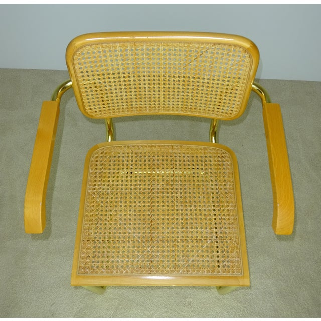 Brown Marcel Breuer Cesca Brass Armchairs - a Pair For Sale - Image 8 of 11