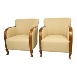Early 20th Century Vintage Art Deco Swedish Club Chairs- A Pair For Sale