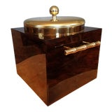 Image of Vintage Hollywood Regency Faux Tortoise Shell Lucite Ice Bucket With Faux Bamboo Handles For Sale