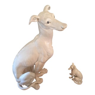 Antique Life Size Whippet & Pup Statues - A Pair