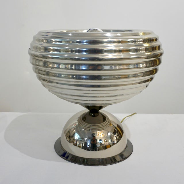 Hollywood Regency Flos 1960s Castiglioni Round Silver Tone Polished Aluminum Table Lamps - a Pair For Sale - Image 3 of 13