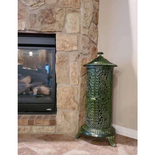 Decorative French Art Nouveau Enameled Cast Iron Antique Parlor Heater Stove For Sale - Image 10 of 11