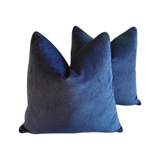 Custom Tailored Midnight Blue Velvet Feather/Down Pillows - Pair For Sale