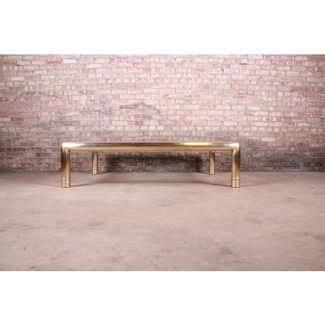 Metal Mastercraft Monumental Hollywood Regency Chinoiserie Brass and Glass Cocktail Table For Sale - Image 7 of 10