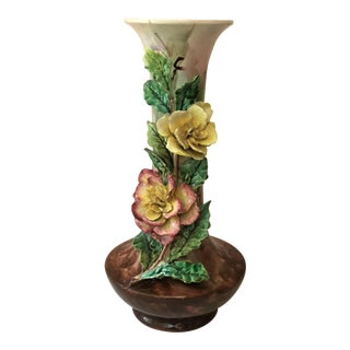 1880s French Majolica Flowers Vase For Sale