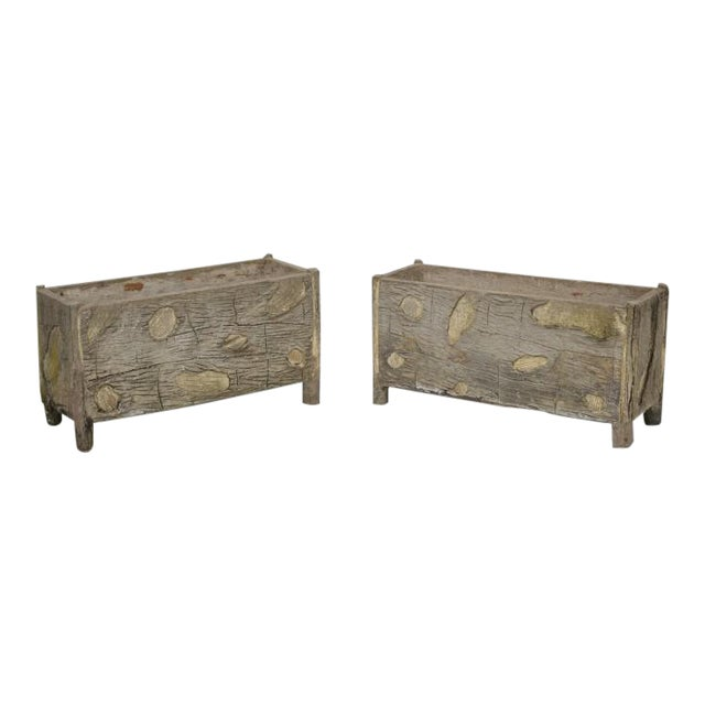 Rare Pair of Vintage French Faux Bois Planters For Sale