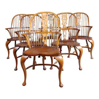 1940s Vintage Windsor Chairs -Set of 6 For Sale