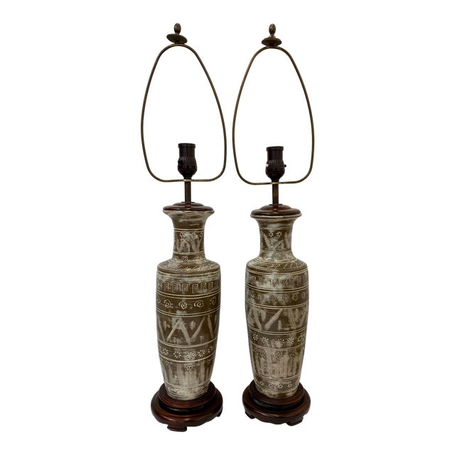 Vintage Ceramic Table Lamps - a Pair For Sale