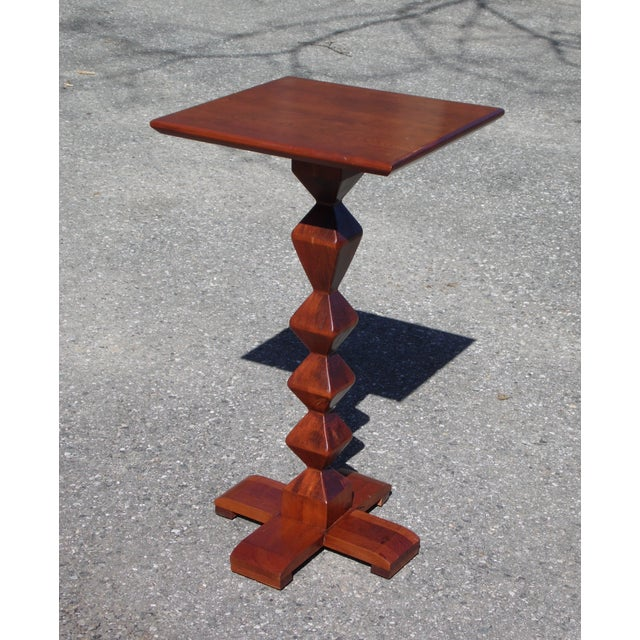 1970s Vintage Ethan Allen American Solid Cherry Square Pedestal End Table Plant Stand For Sale - Image 5 of 11
