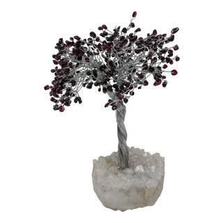 Boho Chic Amethyst Crystal Purple, Silver and White Feng Shui Bonsai Tree Sculpture With Geode Base For Sale