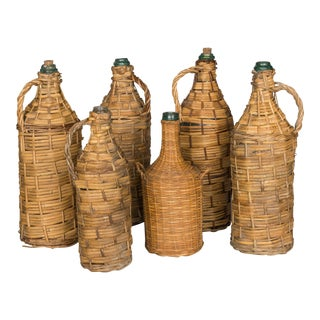 Wicker Wrapped Glass Bottles - Set of 6 For Sale