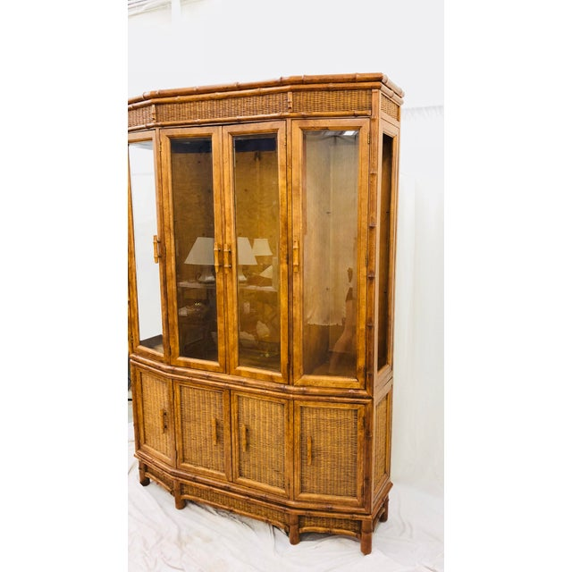 Brown Vtg Faux Bamboo & Wicker Hutch For Sale - Image 8 of 13