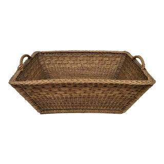 1920s French Wicker Market Basket For Sale