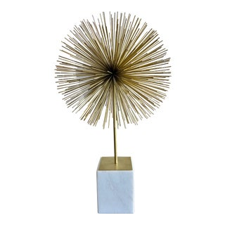 Modern Brutalist Gold and White Sculpture