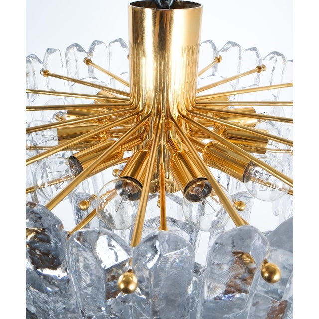 Mid-Century Modern j.t. Kalmar Palazzo Chandelier Gold Brass Glass Lamp, Austria 1960 For Sale - Image 3 of 12