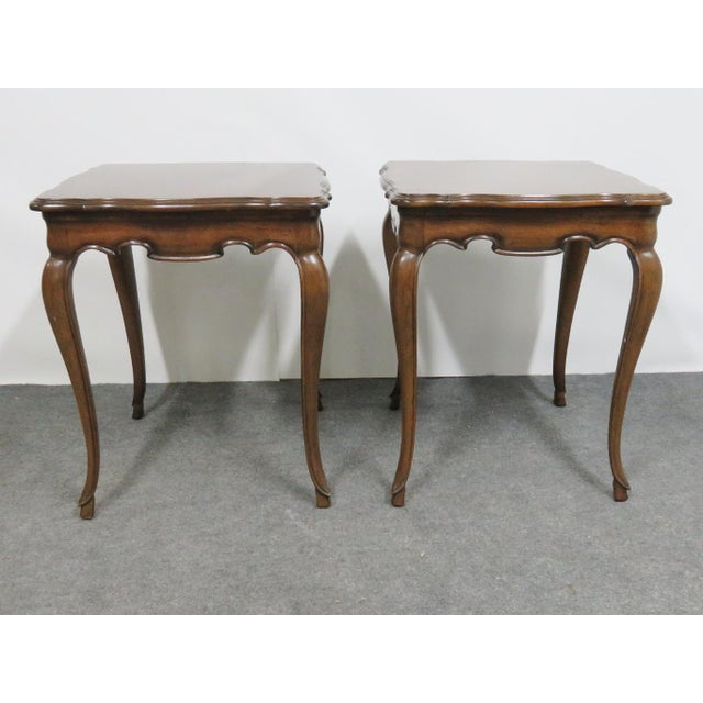 Pair of French style end tables, cabriole legs, scalloped cut out skirt,