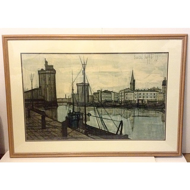 """This large Mid-Century lithograph is by the French artist, Bernard Buffett circa 1955. Titled """"Le Port de la Rochelle""""...."""