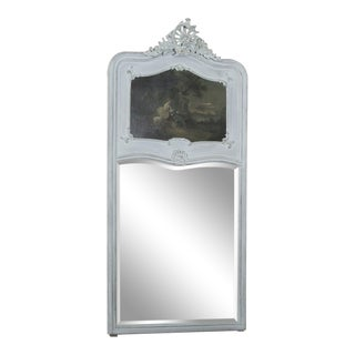 19th Century French Louis XV Painted Trumeau/Mirror For Sale
