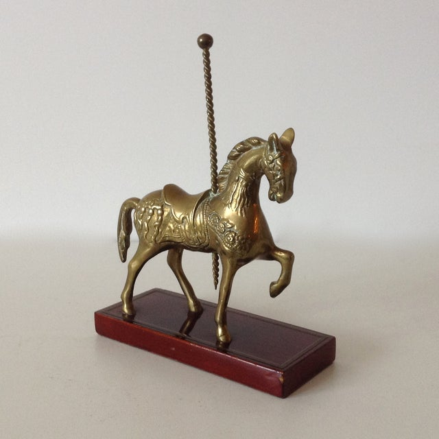 Brass Carousel Horse Accent Bookend For Sale - Image 4 of 9