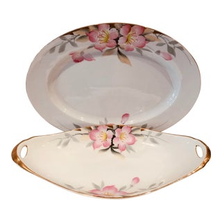 "1920s Antique Gold Rimmed Noritake ""Azalea"" China Serveware - A Pair For Sale"