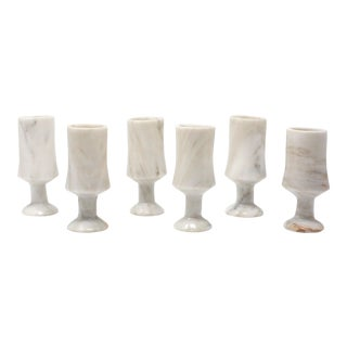 Vintage Marble Stone Footed Cordial Glasses - Set of 6 For Sale