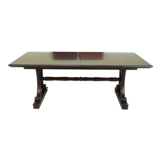 1990s Hickory Chair Co Mahogany Trestle Extension Dining Room Table For Sale