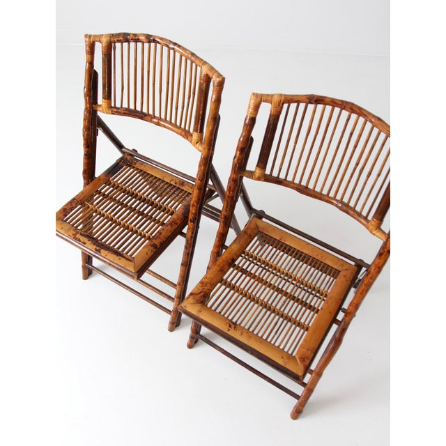 Vintage Bamboo Folding Chairs - a Pair For Sale - Image 4 of 10