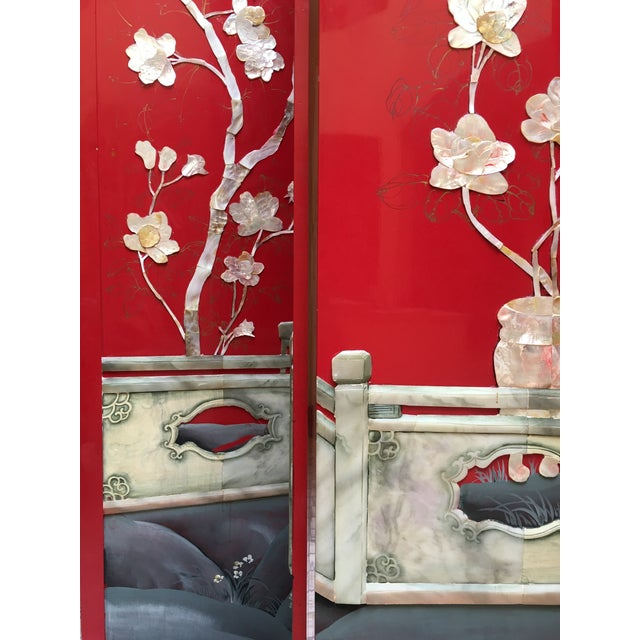 Vintage Red Lacquered Chinese Screen - Image 5 of 11