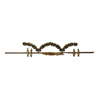 Antique French Bronze Curtain Rod W/ Rings For Sale