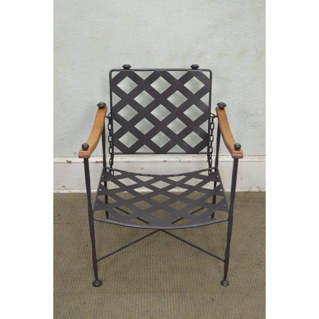 Metal Hand Forged Steel Frame & Wood Frame Reclining Arm Chairs For Sale - Image 7 of 10