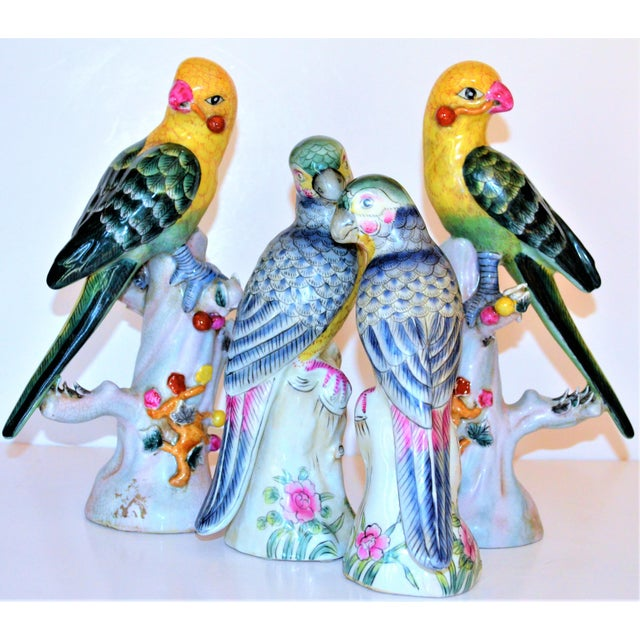 Blue (Final Mark Down Taken) Chinese Export Porcelain Parrot Figurines - Set of 4 For Sale - Image 8 of 12