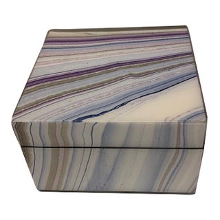 Beautiful Lacquered Square Box in Lavender, Blue, Brown And For Sale