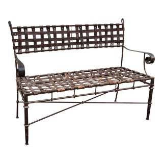 Iron & Leather Strap Bench For Sale