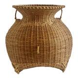 Image of 1960s Vintage Boho Chic Natural Wicker Rattan Sculptural Vase For Sale