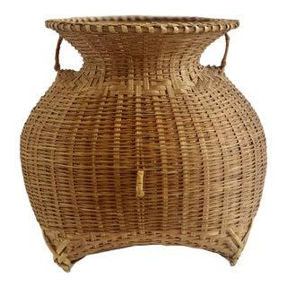 1960s Vintage Boho Chic Natural Wicker Rattan Sculptural Vase For Sale