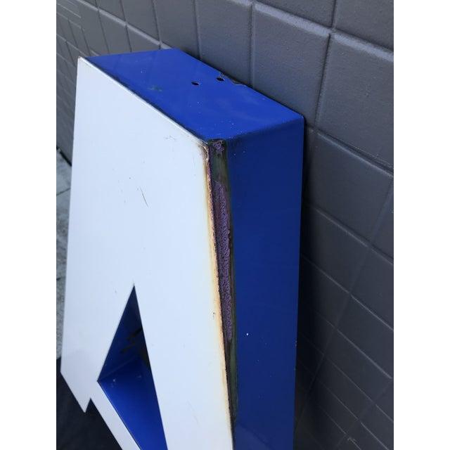"""Large Vintage Blue & White Enamel Metal """"L"""" Building Signage For Sale - Image 9 of 12"""