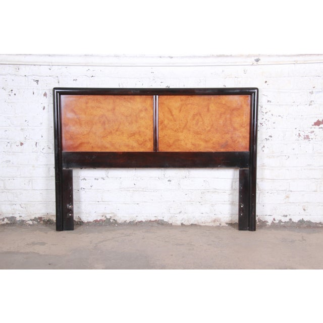 Edward Wormley for Dunbar Burl Wood and Mahogany Queen Size Headboard, 1960s For Sale In South Bend - Image 6 of 7