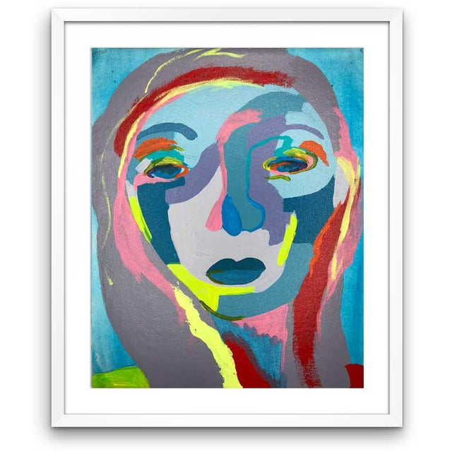 "Blue Contemporary Abstract Portrait Painting ""It's Confusing 'Til It Makes Sense"" - Framed For Sale - Image 8 of 8"