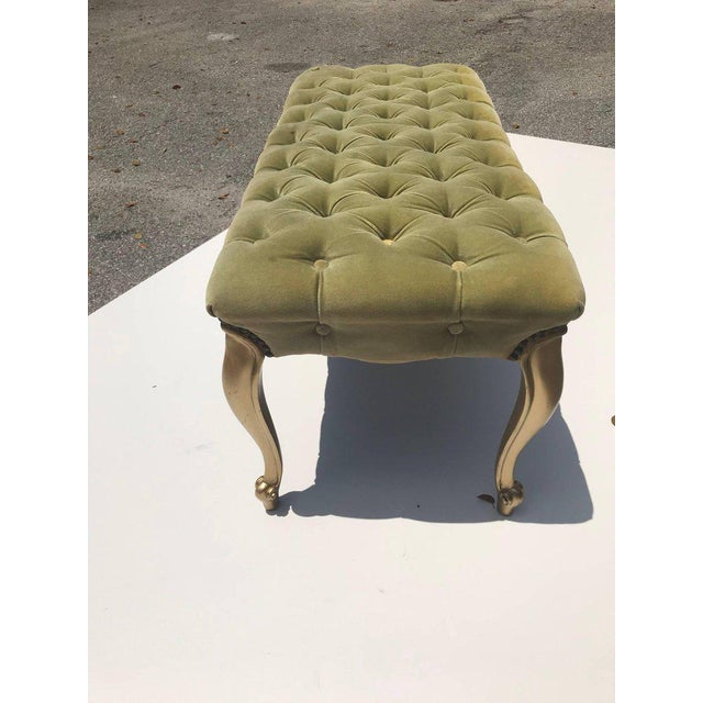 French 19th Century Louis XV Benches With Green Velvet. For Sale - Image 4 of 13